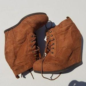 Brown suede lace-up heels